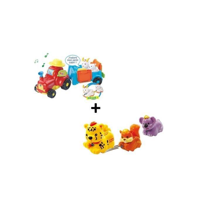 Tut Tut Animo - Mon super Tracteur à remorque et coffret Trio animaux de la Forêt
