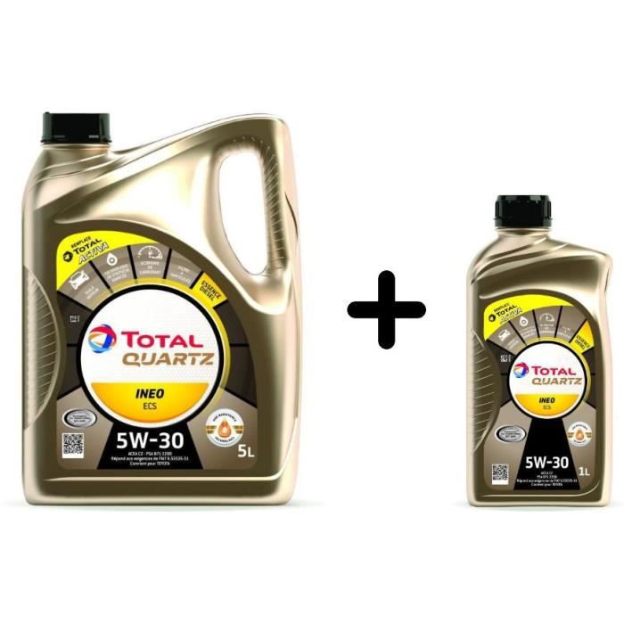 Lot d'huile moteur mixte - TOTAL - Essence et diesel Quartz INEO ECS 5W30 5L + 1L