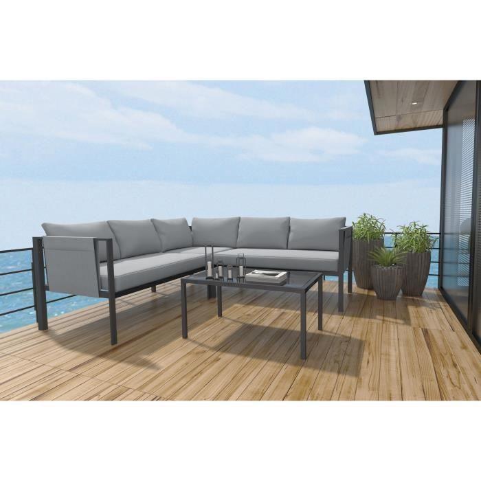 Set bas d'angle 4 pièces avec coussins - 2 sofas + 1 fauteuil d'angle + 1 table basse - Gris
