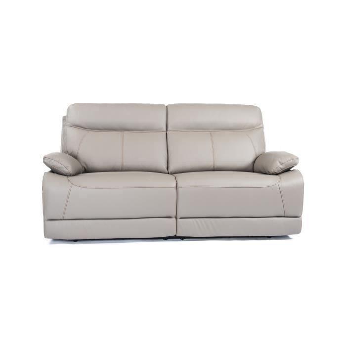 Canapé 3 places 2 relax électrique - Cuir et simili Gris - SANTANDER