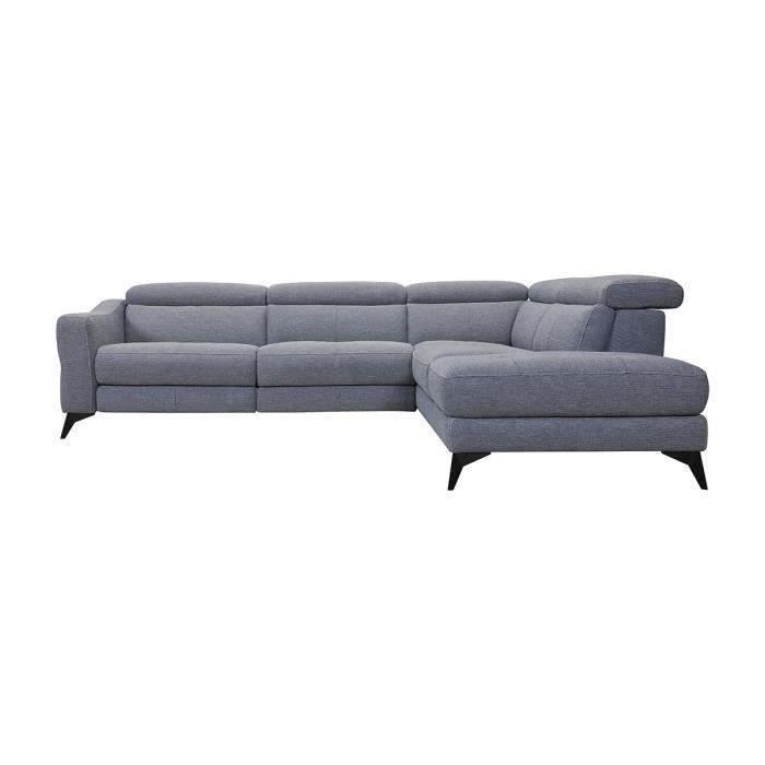 KANSAS Canapé d'angle droit 1 relax électrique - Tissu Gris - L 283 x P 102 x H x 74 cm