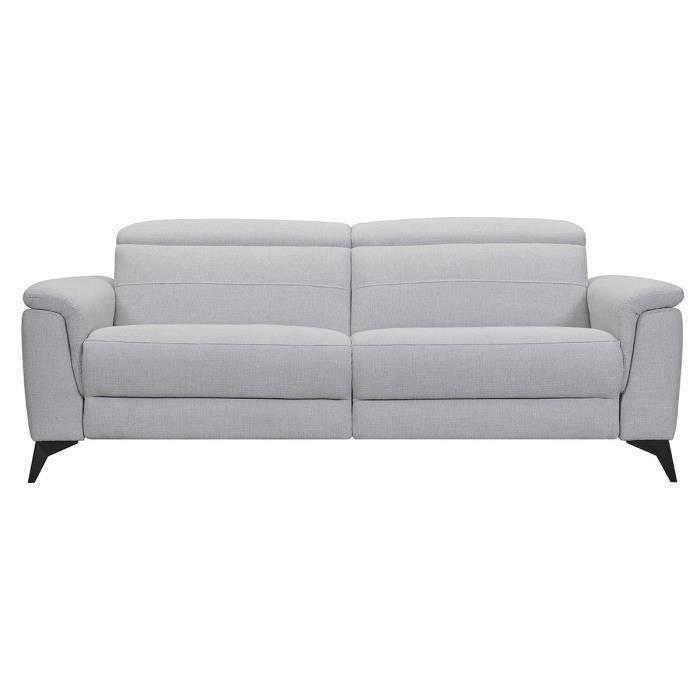 MELBOURNE Canapé 3 places avec 2 relax electrique - Tissu gris clair - L 208 x P 108 x H x 79 cm