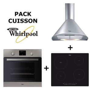 Pack Cuisson WHIRLPOOL : Four chaleur tournante pyrolyse + Table de cuisson induction 4 zones + Hotte inox 60cm