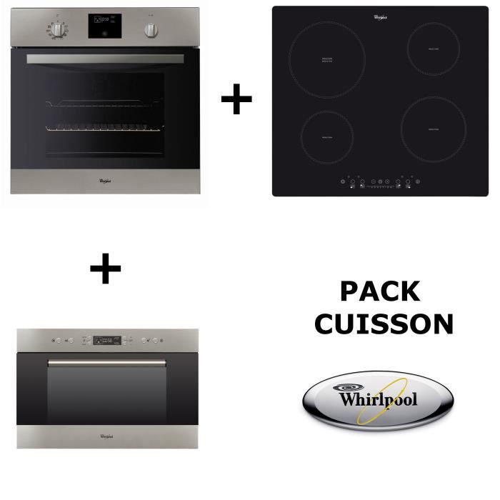 WHIRLPOOL - PACK CUISSON : Four pyrolyse + table de cuisson induction + Micro-ondes encastrable