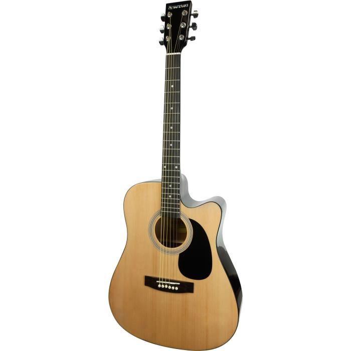 SUZUKI Guitare folk électro-acoustique avec housse de protection