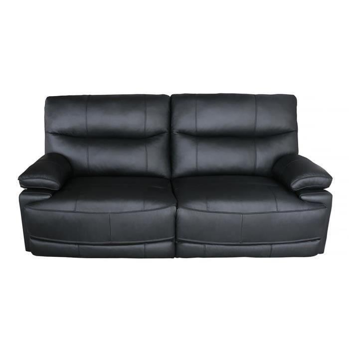 Canapé 3 places dont 2 relax électriques - Cuir de buffle - Noir - L 208 x P 98 x H 103 cm - BALLINA
