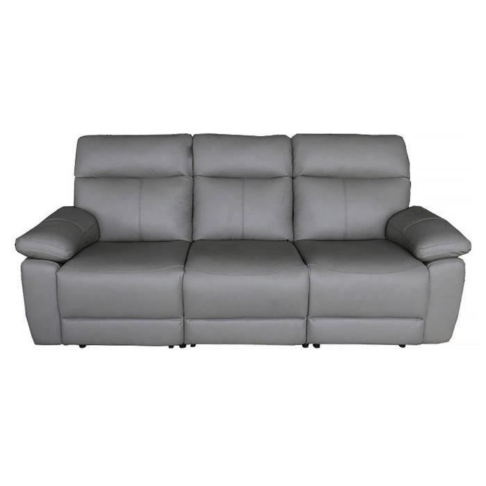 Canapé 3 places relax électrique - Cuir gris - L 222 x P 98 x H 103 cm - COLLIE