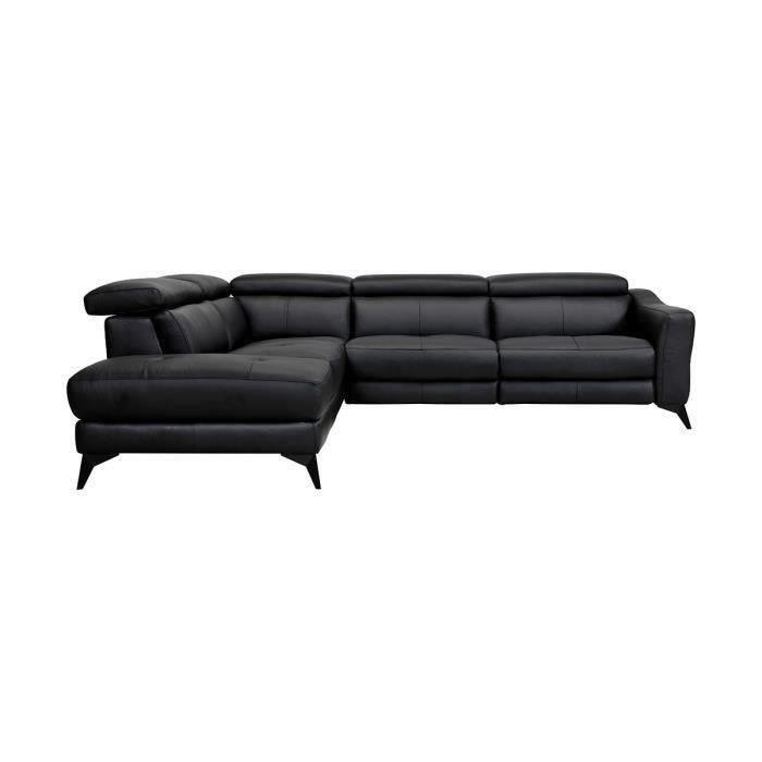 Canapé d'angle gauche 1 relax électrique - 5 places - Cuir de vachette - Noir - L 283 x P 102 x H 74 cm - KANSAS