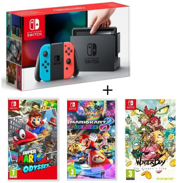 Pack Nintendo Switch Néon + Wonder Boy - The Dragon's Trap + Super Mario Odyssey + Mario Kart 8 Deluxe