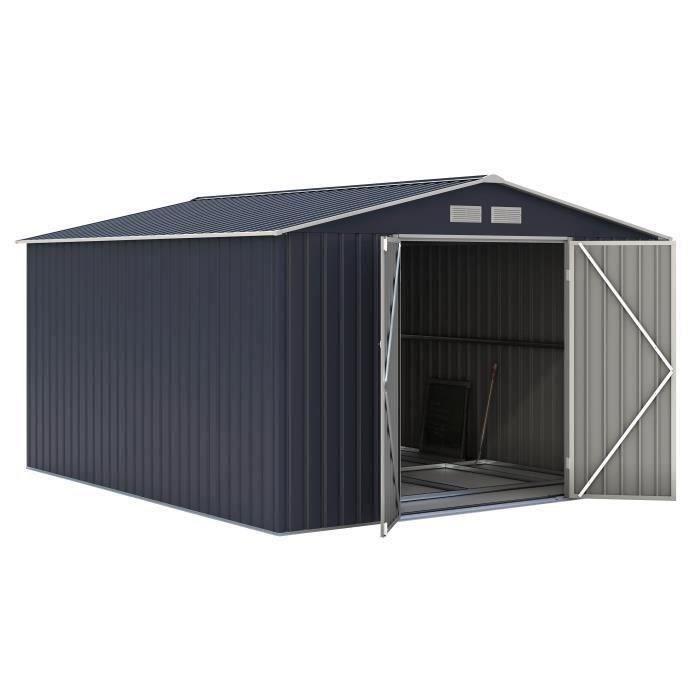 Abri de jardin acier 8,84 m2. avec kit d'ancrage inclus