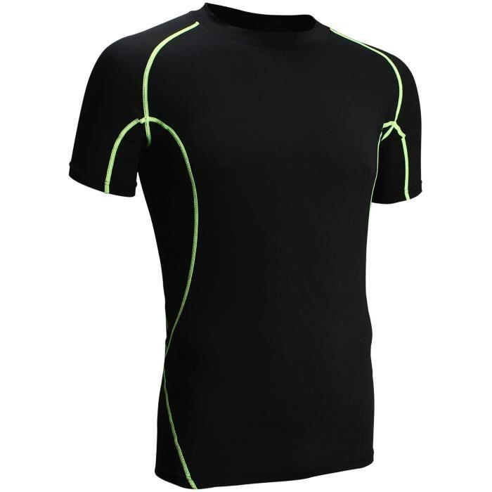 AVENTO T-Shirt de Compression manches courtes - Homme - Noir et Vert