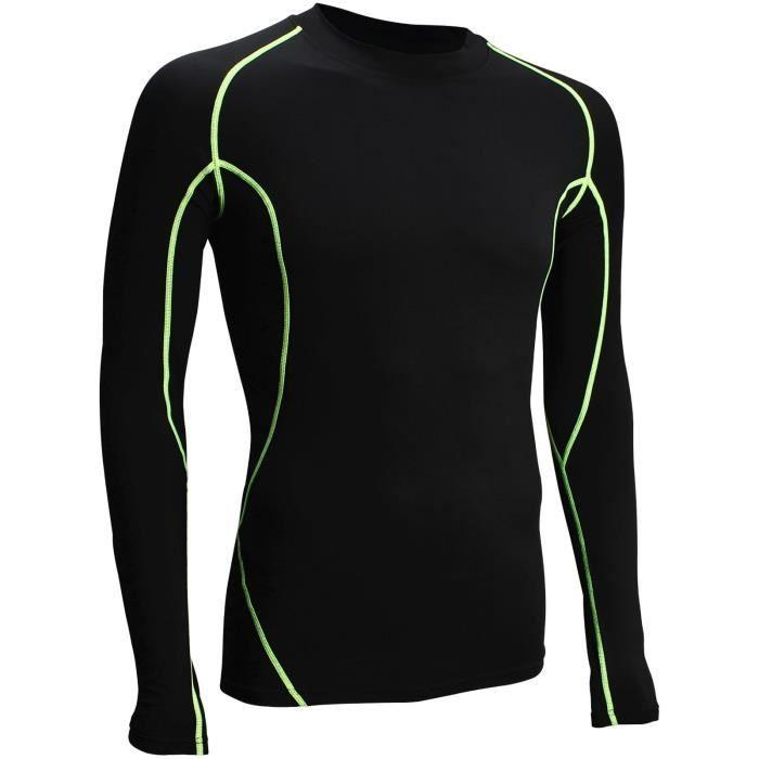 AVENTO T-Shirt de Compression manches longues - Homme - Noir et Vert