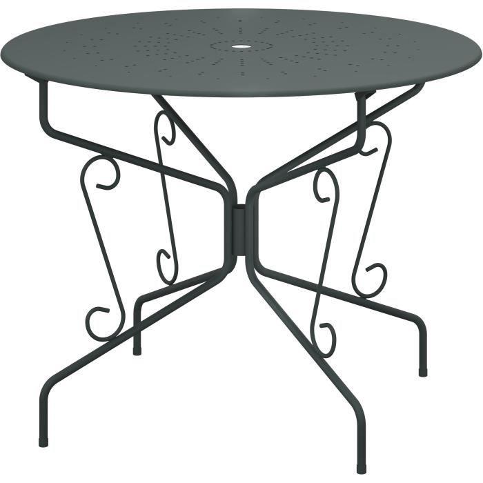Table de jardin romantique en fer forgé avec trou central pour parasol - 95 cm - Vert