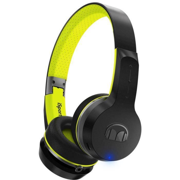 MONSTER ISPORT FREEDOM Casque Audio Sport Bluetooth Noir et Vert