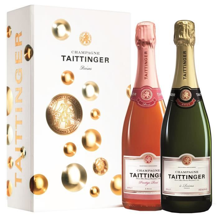 Champagne Taittinger Coffet 2 bouteilles Brut Réserve et Prestige Rosé - 75 cl