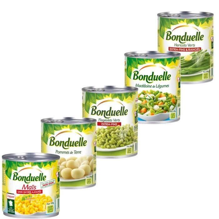 Bonduelle - Assortiment de 5 conserves : Flageolets, macédoine, maïs, haricots verts, pomme de terre
