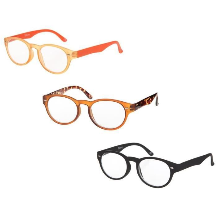 BILBERRY OPTICS Pack 3 paires de lunettes loupes - Dioptrie +1,50 - Noir, orange et marron