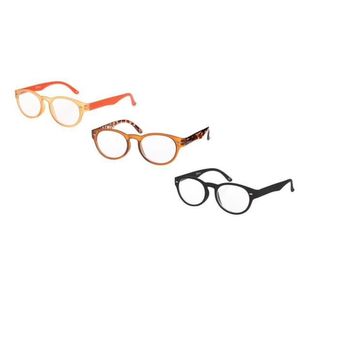BILBERRY OPTICS Pack 3 paires de lunettes loupes - Dioptrie +2,50 - Noir, orange et marron