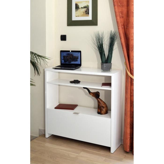 SCHOES Console style contemporain blanc brillant Brillant - L 93 cm