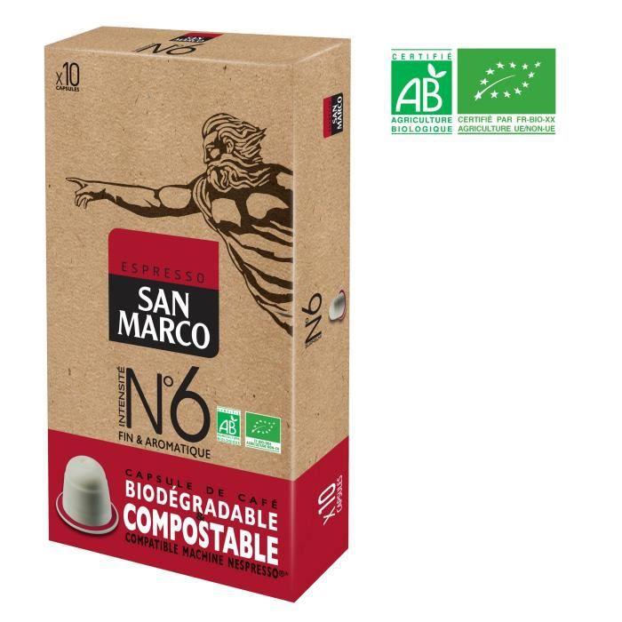 SAN MARCO Café Espresso N°6 Compatible Nespresso Bio & Compostable - 10 capsules