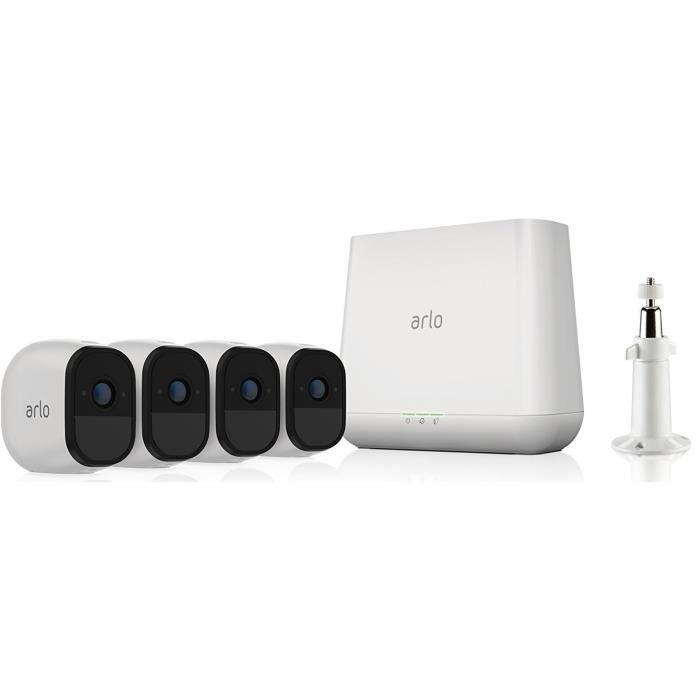 Arlo Pro|VMS4430-100EUS|Kit de sécurité 100% Sans Fils|Pack de 4|Batterie rechargeable 720p Jour/Nuit|Etanche IP65