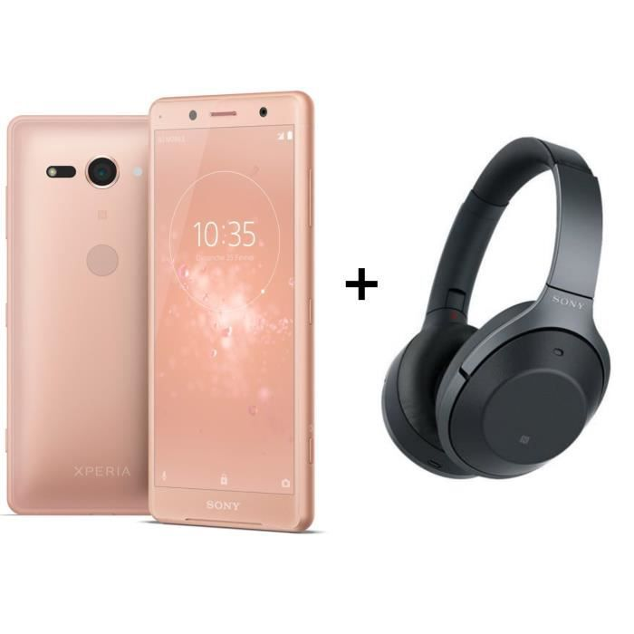 Sony Xperia XZ2 Compact Rose Corail + Sony WH-1000XM2 Casque sans fil Bluetooth NFC
