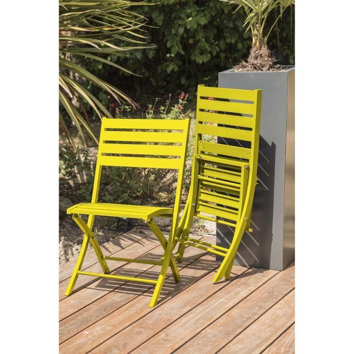 DCB GARDEN Lot de 2 chaises pliantes en aluminium Marius - Jaune