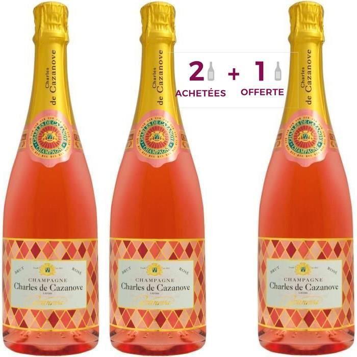 2 achetées + 1 offerte - Champagne Charles de Cazanove Arlequin Rosé