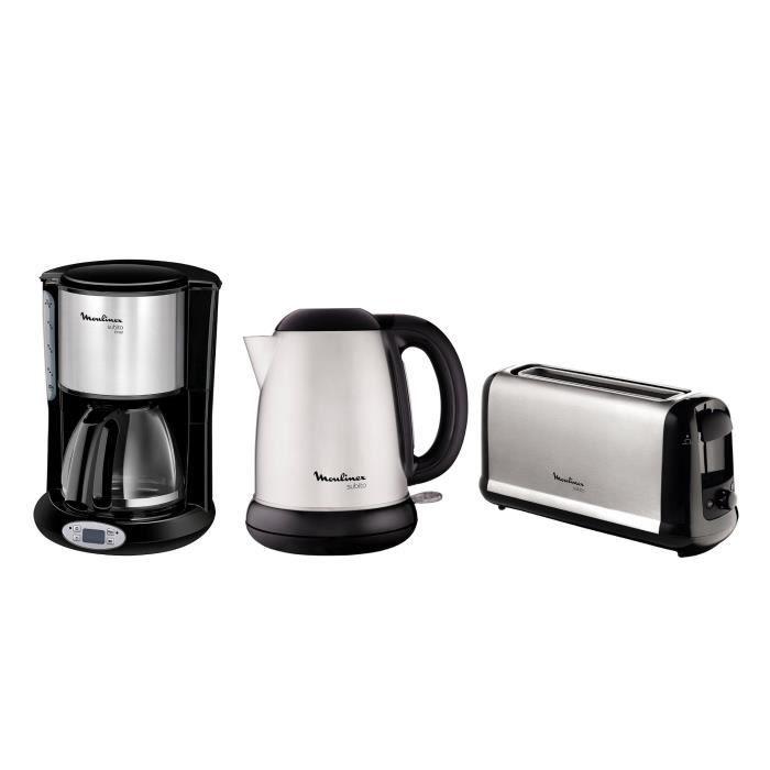 Pack MOULINEX Subito : Bouilloire électrique BY540D10 + Cafetière filtre FG362810 + Grille-pain LS260800