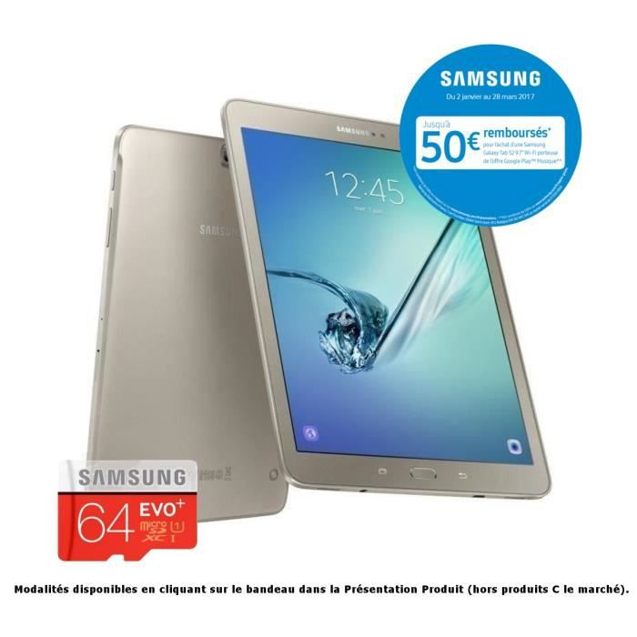 Pack SAMSUNG Galaxy Tab S2 + micro SD 64 Go offerte - 9,7'' QXGA Super AMOLED - Stockage 32 Go -Processeur Octo Core -Mémoire 3 Go