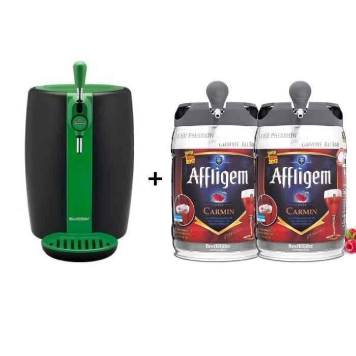 SEB VB310310 - Beertender Green Limited Edition + 2 fûts de bière belge aromatisée fruits rouges 5L AFFLIGEM