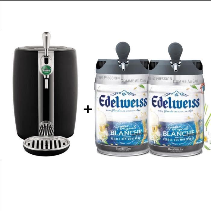 SEB Tireuse à bière Beertender - VB310E10 - Compatible futs 5 L - Noir + 2 fûts de bière aux herbes des montagnes 5L EDELWEISS