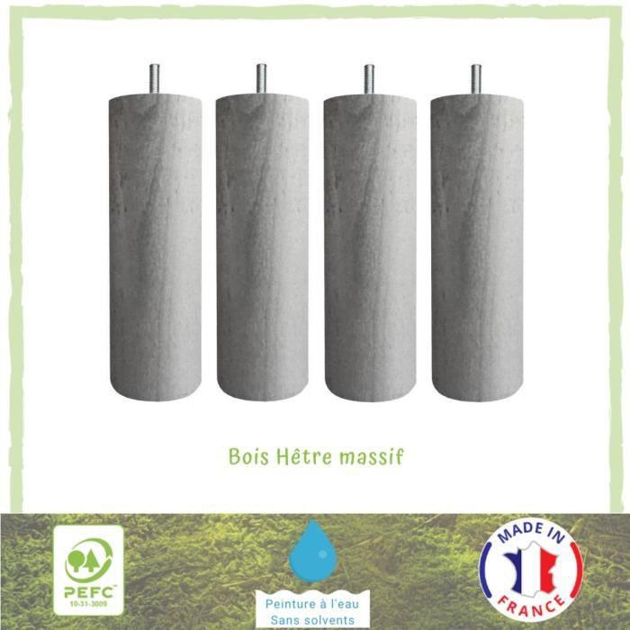 Jeu de pieds cylindriques Ø 6,2 H 17 cm Gris métal - Lot de 4