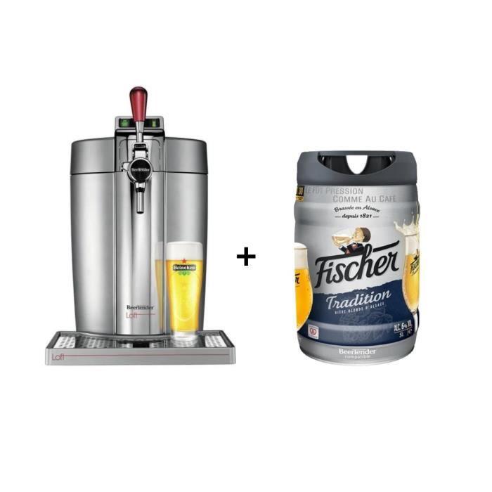 KRUPS Tireuse à bière Beertender - VB700E00 - Compatible fûts 5 L - Chrome + 1 fût de bière blonde 5L FISCHER TRADITION