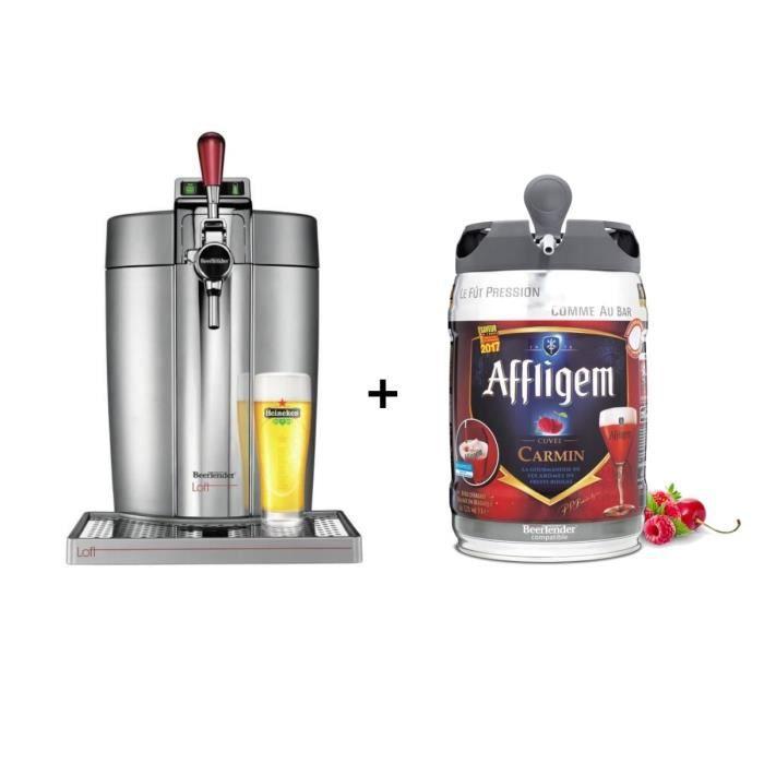 KRUPS Tireuse à bière Beertender - VB700E00 - Compatible fûts 5 L - Chrome +1 fût de bière belge fruits rouges 5L AFFLIGEM