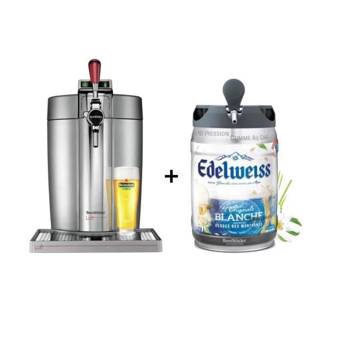 KRUPS Tireuse à bière Beertender - VB700E00 - Compatible fûts 5 L - Chrome + 1 fût de bière aux herbes des montagnes 5L EDELWEISS