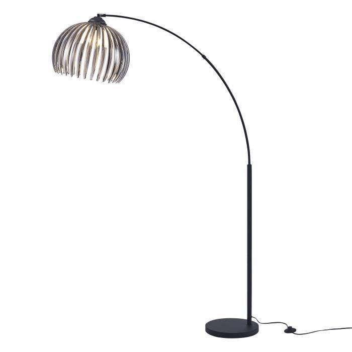 DAISY Lampadaire Arc Métal Noir - Double Réflecteur Acrylique Fumé/Blanc - L 40 x P 110 x H 170