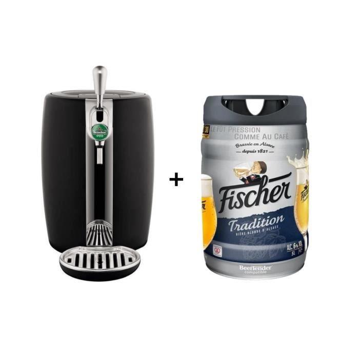 SEB Tireuse à bière Beertender - VB310E10 - Compatible futs 5 L - Noir + 1 fût de bière blonde 5L FISCHER TRADITION