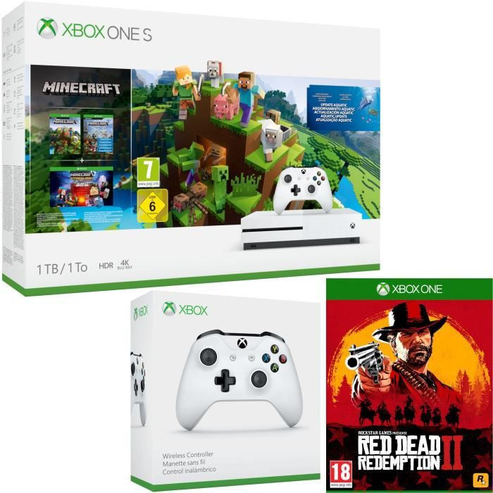 Xbox One S 1 To Minecraft + Red Dead Redemption 2 + manette