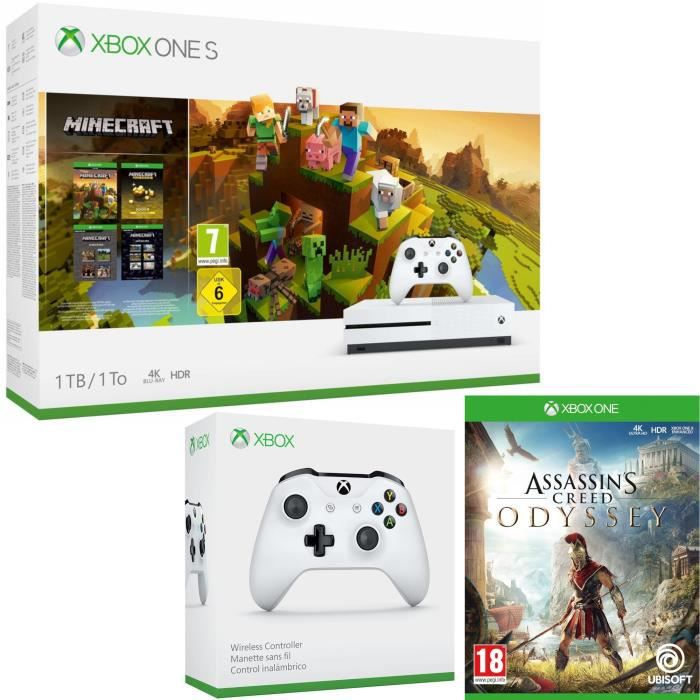 Xbox One S 1 To Minecraft Creators + Assassin's Creed Odyssey + manette