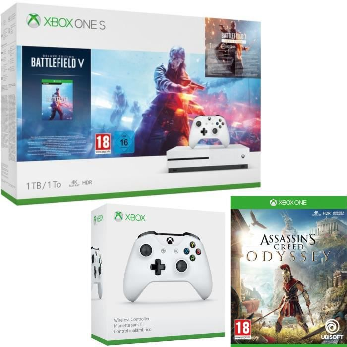 Xbox One S 1 To Battlefield V + Assassin's Creed Odyssey + manette