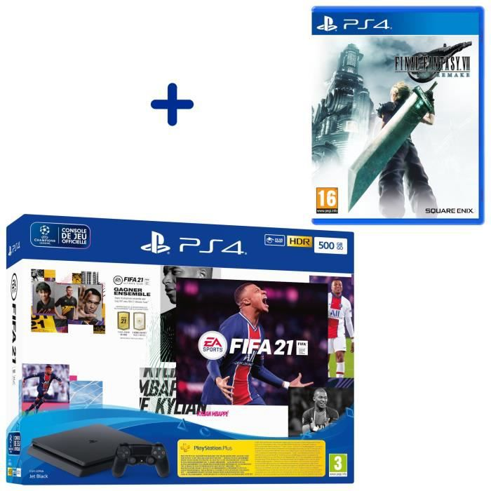 Console PS4 Slim 500Go Noire/Jet Black + FIFA 21 + Final Fantasy VII Remake