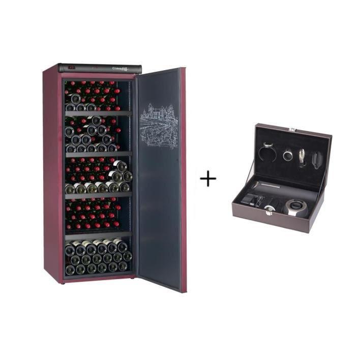 CLIMADIFF CVP220A+ - Cave à vin de vieillissement - 216 Bouteilles + CLIMADIFF PACK6 - Coffret du sommelier - Pack 6 accessoires