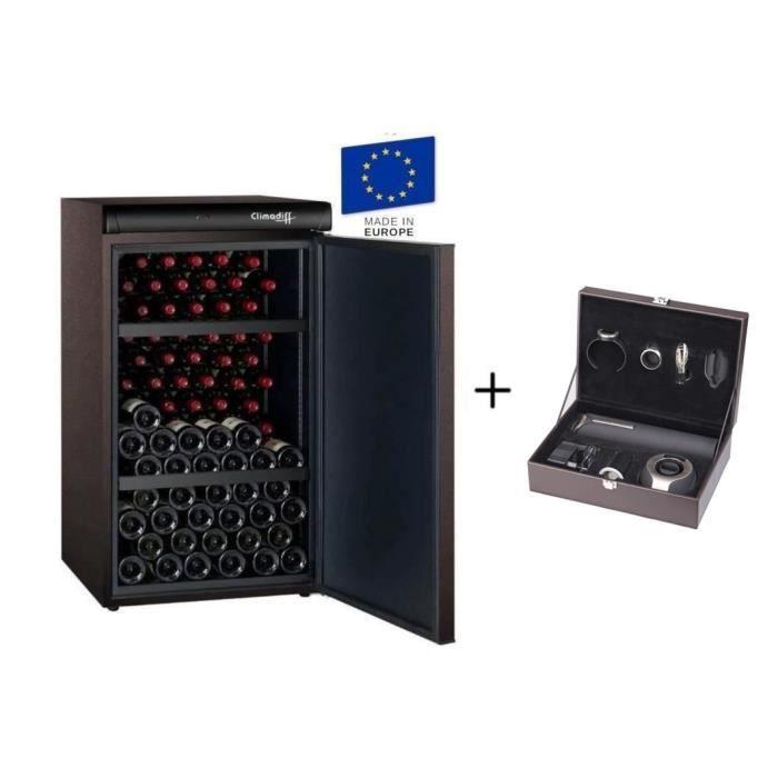 CLIMADIFF CLV122M - Cave à vin de vieillissement - 120 bouteilles + CLIMADIFF PACK6 - Coffret du sommelier - Pack 6 accessoires