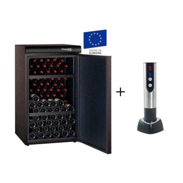 CLIMADIFF CLV122M - Cave à vin de vieillissement - 120 bouteilles + CLIMADIFF TB5035 tire bouchon électrique