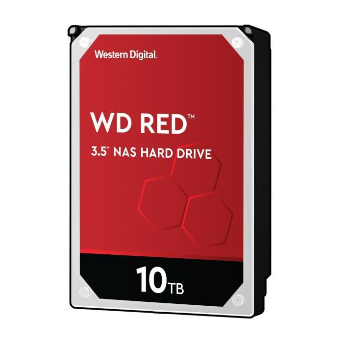 WD Red™ - Disque dur Interne NAS - 10To - 5 400 tr/min - 3.5- (WD100EFAX)