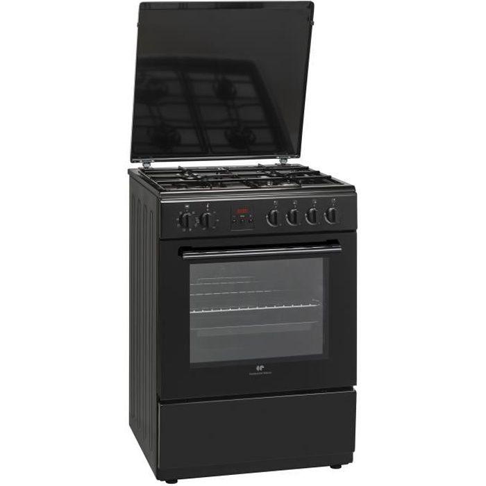 CONTINENTAL EDISON - CECG6065FCB Cuisinière table gaz-4 foyers-Four électrique chaleur brassée-Catalyse-65 L-L 60 x H 85 cm-Noir