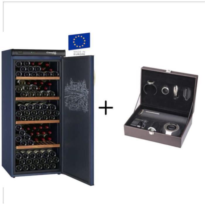 CLIMADIFF CVP180 - Cave à vin de vieillissement - 180 bouteilles + CLIMADIFF PACK6 - Coffret du sommelier - Pack 6 accessoires