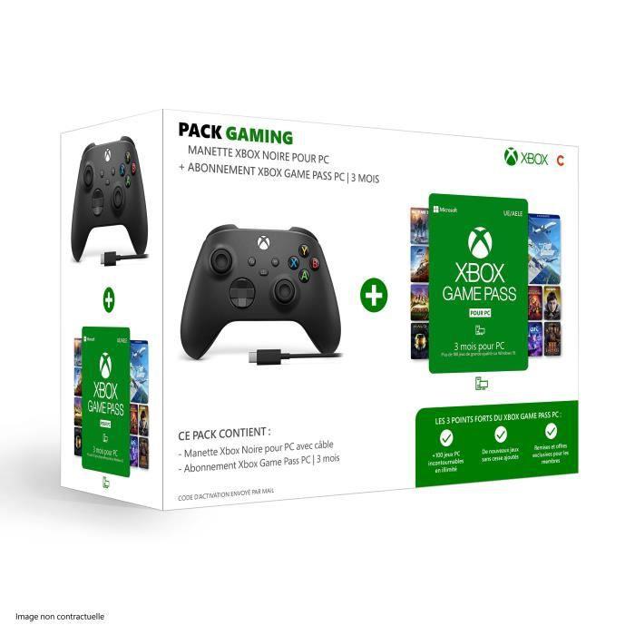 Pack Xbox : Manette nouvelle génération avec câble pour PC - Noir + Abonnement Xbox Game Pass 3 mois pour PC