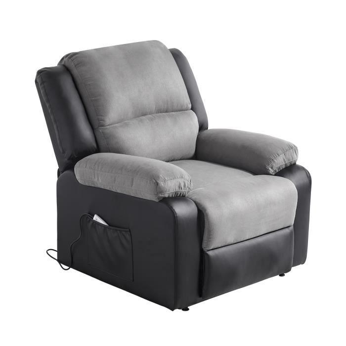 Fauteuil releveur de relaxation RELAX - Simili noir et tissu gris - Massant chauffant - Moteur électrique et lift releveur